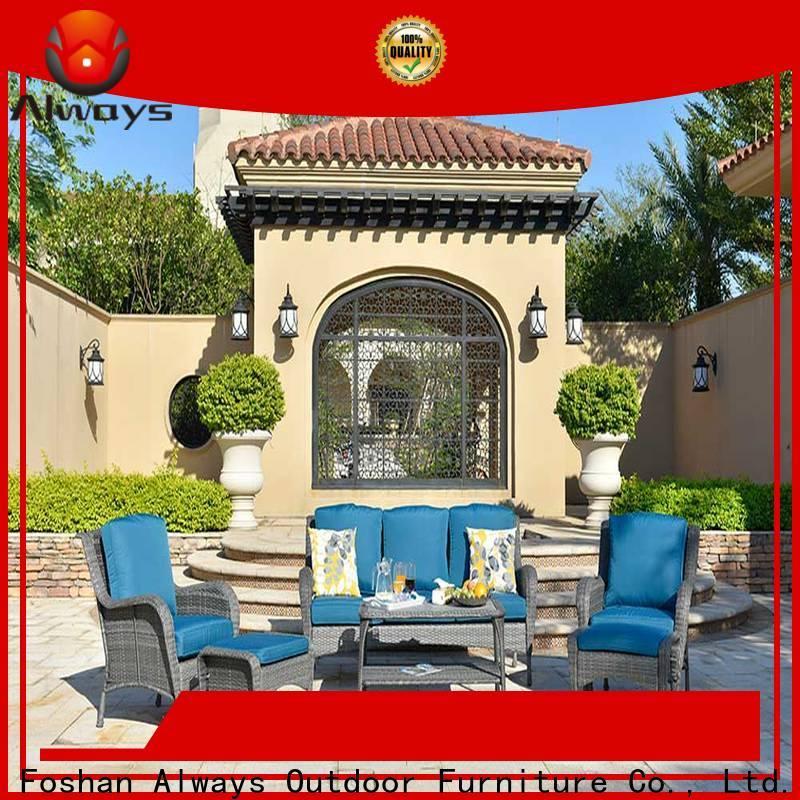 Always pe wicker outdoor sofa set factory price for gardens