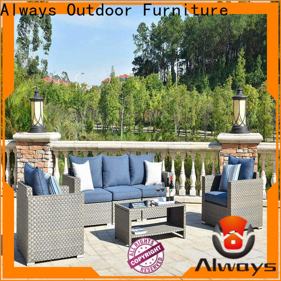 Always workmanship all weather wicker sofa set for swimming pools for outdoor leisure for places