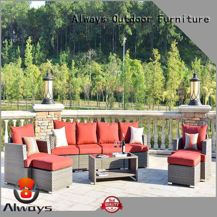 Always frame wicker style patio furniture for gardens