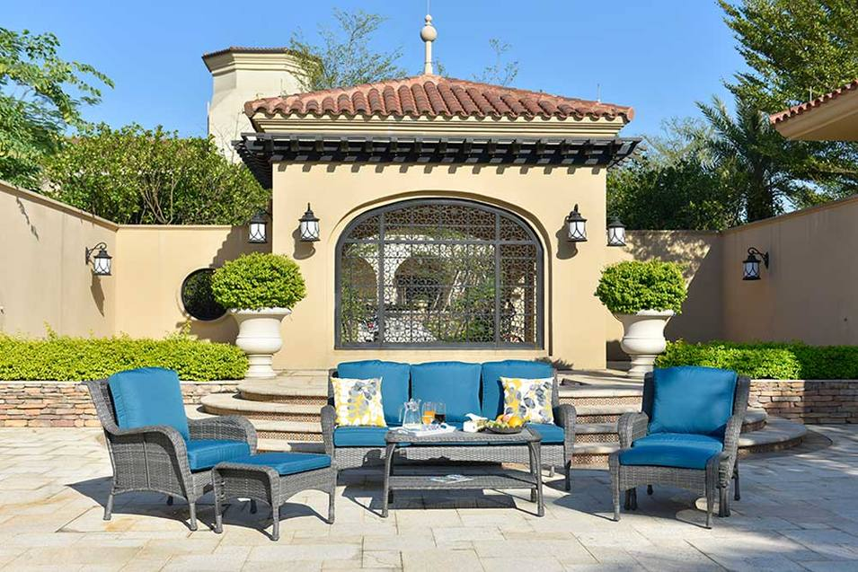 Wholesale High-grade Material Outdoor Wicker Sofa And Wicker Patio Table Set Kenard