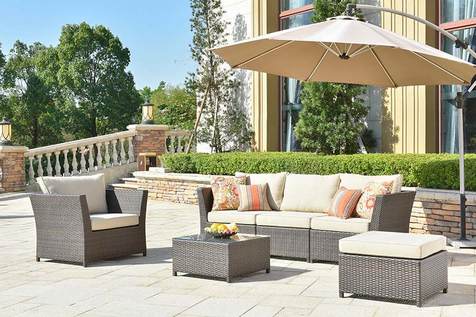 Wholesale Brown Outdoor Wicker Sofa And Wicker Garden Table Set Rimaru