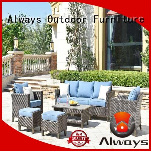 Always pe wicker outdoor sofa set factory price for porch