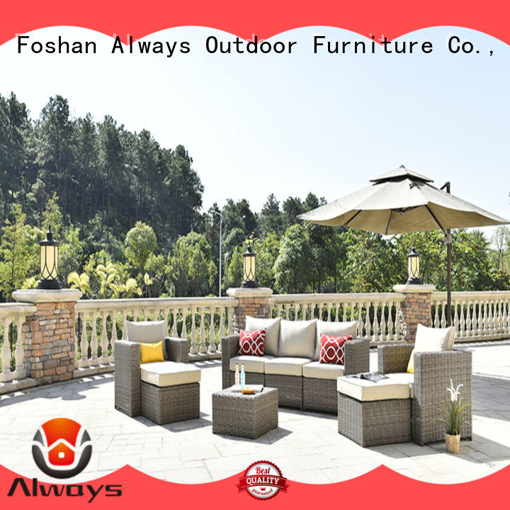 Always customized wicker outdoor sofa set set for swimming pools for outdoor leisure for places